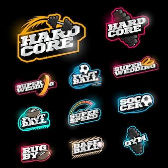 Conjunto de logotipo de deporte de estilo retro