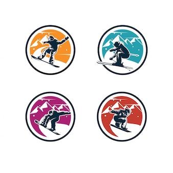 Conjunto de logotipo de deporte de invierno. logo de snowboard