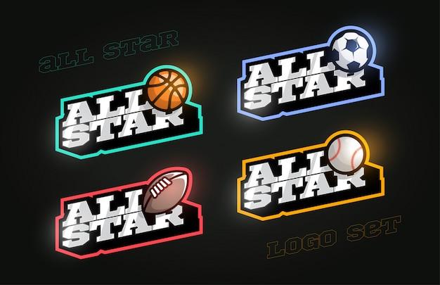 Conjunto de logotipo deportivo all star estilo retro
