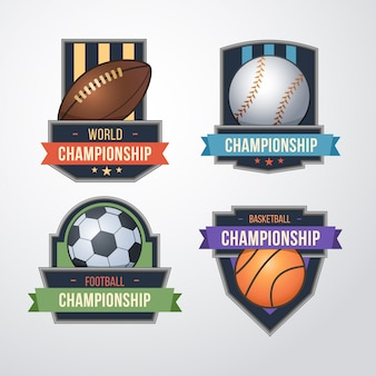 Conjunto de logotipo deportivo. béisbol, fútbol, baloncesto insignias plantilla de diseño de logotipo.