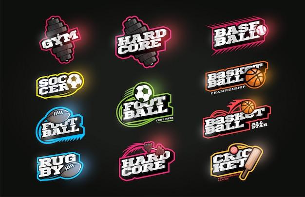 Conjunto de logotipo deportivo de estilo retro