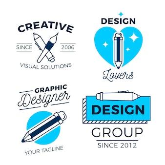 Conjunto de logotipo de diseñador gráfico de diseño plano