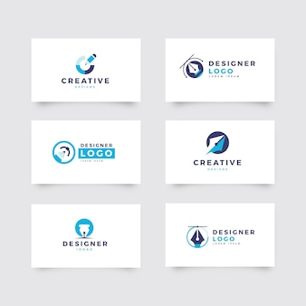 Conjunto de logotipo de diseñador gráfico plano