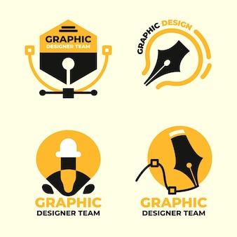 Conjunto de logotipo de diseñador gráfico