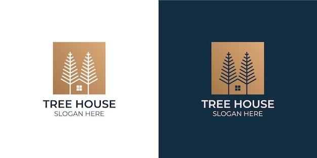 Conjunto de logotipo de diseño de casa de árbol minimalista