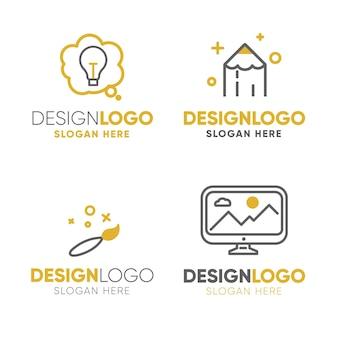 Conjunto de logotipo de diseño gráfico plano moderno