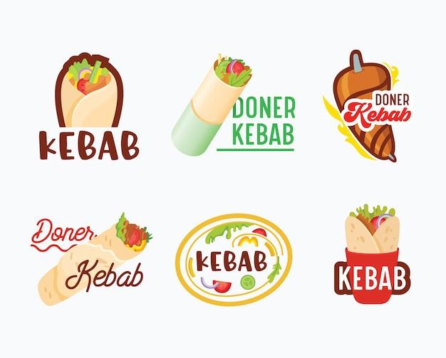Conjunto de logotipo de doner kebab.