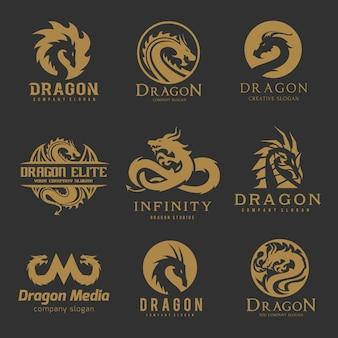 Conjunto de logotipo de dragón