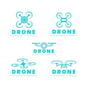 Conjunto de logotipo de drone de diseño plano