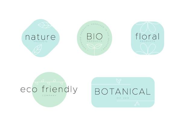 Conjunto de logotipo ecológico de negocios naturales