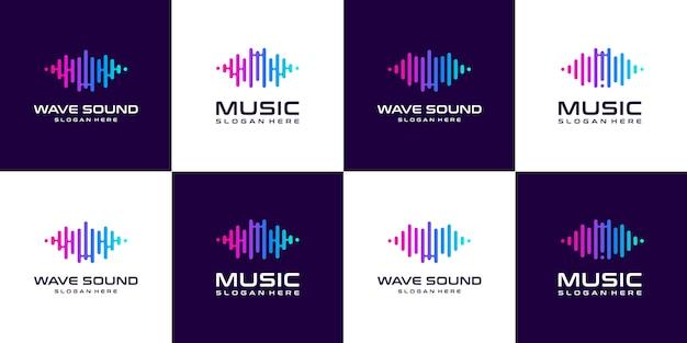 Conjunto de logotipo de ecualizador de música de pulso de colección.