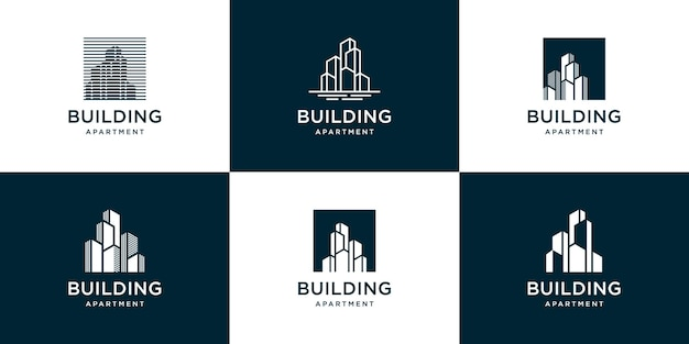 Conjunto de logotipo de edificio abstracto