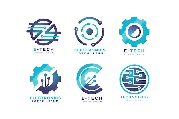 Conjunto de logotipo de electrónica degradado