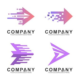 Conjunto de logotipo de empresa flecha simple