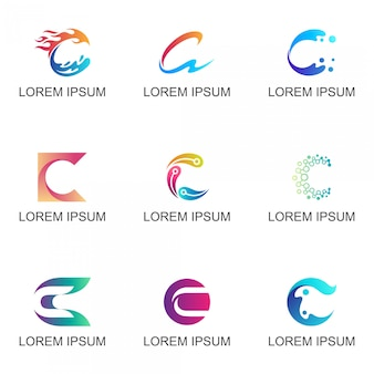 Conjunto de logotipo de la empresa letra inicial c