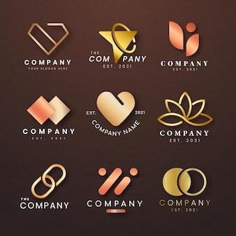 Conjunto de logotipo de empresa de lujo diseño de icono de oro rosa