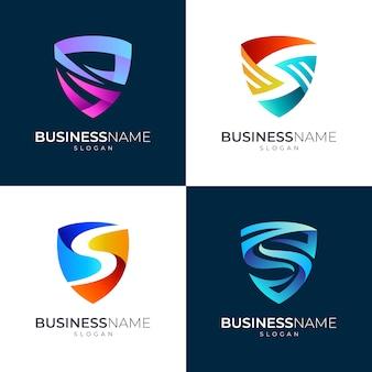 Conjunto de logotipo de escudo y letra s