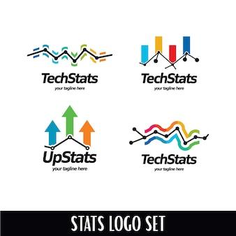 Conjunto de logotipo de estadísticas de la tecnología