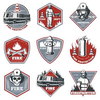 Conjunto de logotipo de extinción de incendios vintage