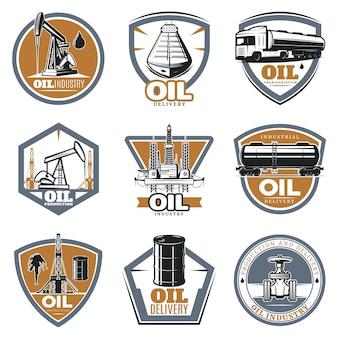 Conjunto de logotipo de extracción de aceite colorido