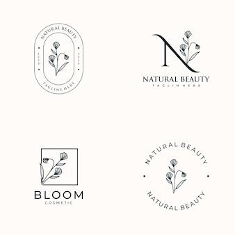 Conjunto de logotipo femenino dibujado a mano para salón de spa, boutique de belleza y cosmética para el cabello de piel,