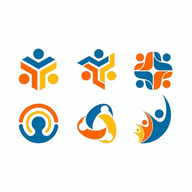 Conjunto de logotipo de figura humana