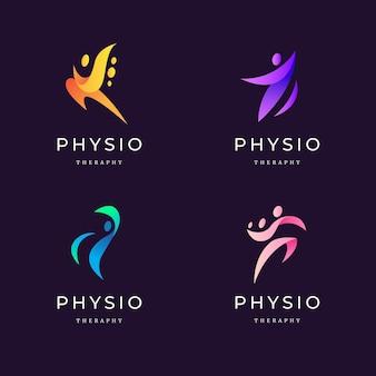 Conjunto de logotipo de fisioterapia gradiente