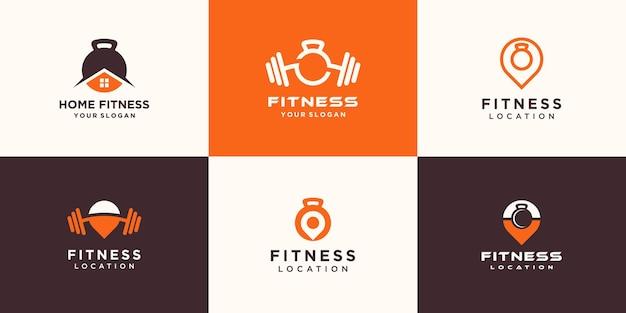 Conjunto de logotipo de fitness minimalista abstracto. logo de pesa rusa combinada con mancuernas
