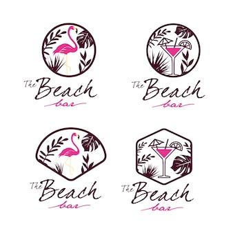 Conjunto de logotipo de flamingo beach bar
