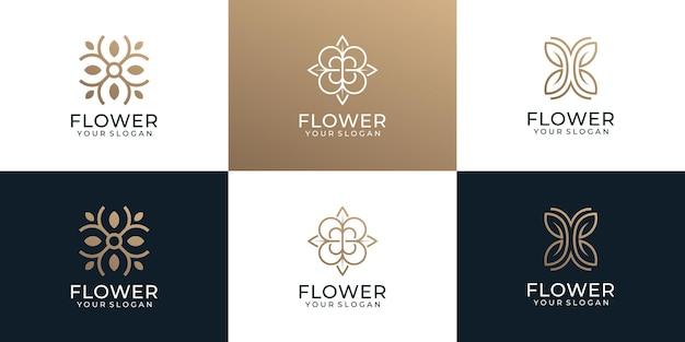 Conjunto de logotipo de flor de monograma minimalista para boutique de yoga de decoración de spa
