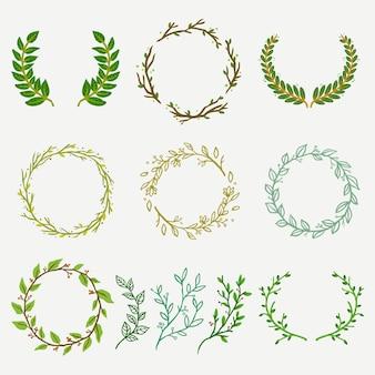Conjunto de logotipo de florería de hojas y ramas naturales