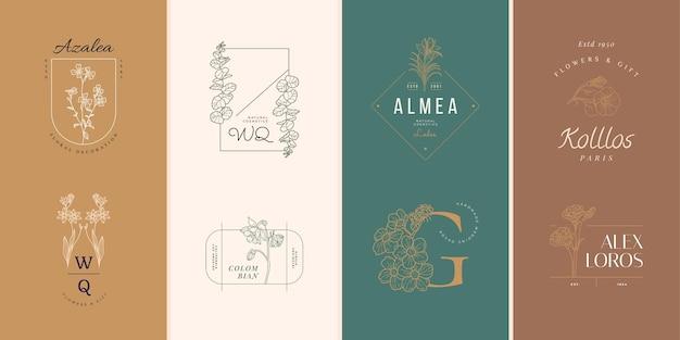 Conjunto de logotipo de flores botánicas