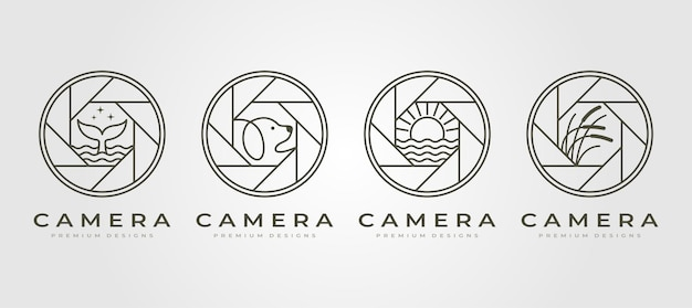 Conjunto de logotipo de fotografía de lente de cámara de naturaleza