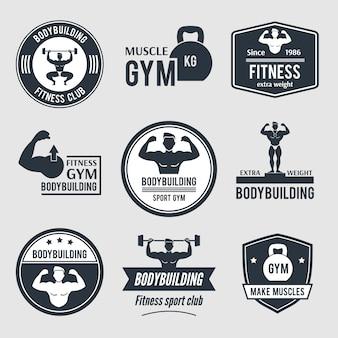 Conjunto de logotipo de gimnasio de culturismo