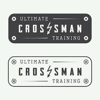 Conjunto de logotipo de gimnasio entrenamiento crossman