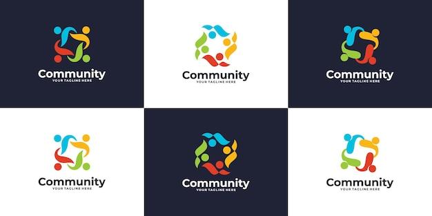 Conjunto de logotipo de grupo social colorido creativo