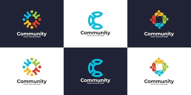 Conjunto de logotipo de grupo social de personas o diseño de logotipo de clínica médica