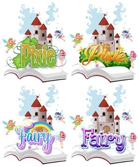 Conjunto de logotipo de hadas y duendes con pequeñas hadas sobre fondo blanco.