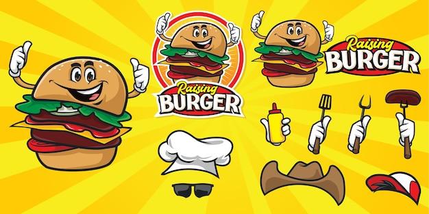 Conjunto de logotipo de hamburguesa de dibujos animados feliz
