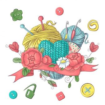 Conjunto para logotipo hecho a mano para crochet y tejido.
