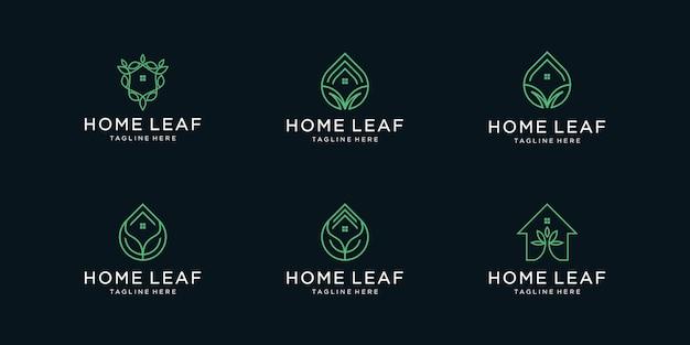 Conjunto de logotipo de hoja de inicio de colección con resumen de hoja de hogar de estilo de arte lineal