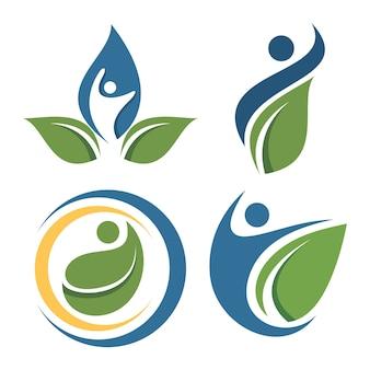 Conjunto de logotipo de hoja de personas