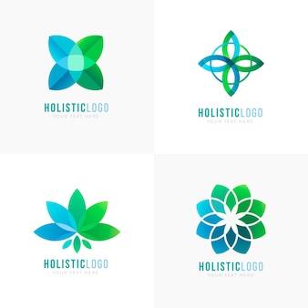 Conjunto de logotipo holístico degradado
