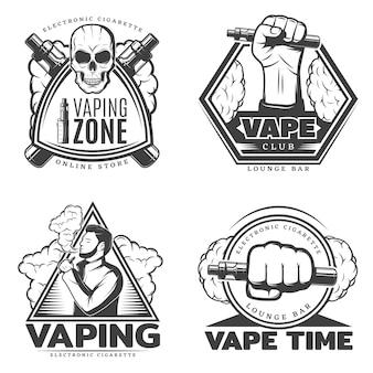 Conjunto de logotipo de humo monocromo
