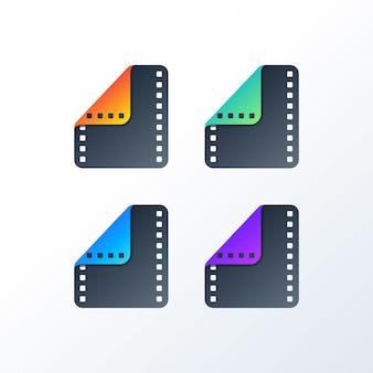 Conjunto de logotipo de icono de película colorida