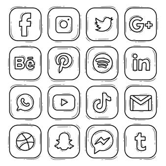 Conjunto logotipo icono redes sociales doodle dibujado mano