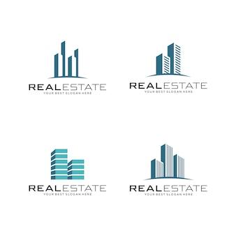Conjunto de logotipo inmobiliario, edificación y construcción