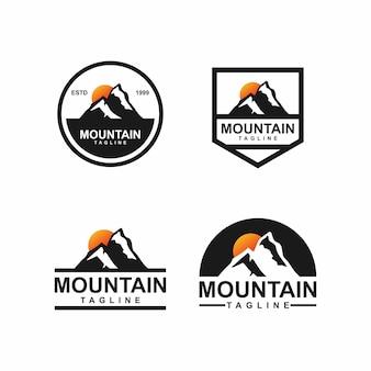 Conjunto de logotipo de insignia de montaña