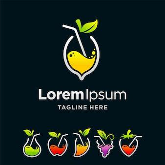 Conjunto de logotipo de jugo con concepto múltiple