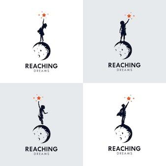 Conjunto de logotipo de kids reach dreams con el símbolo de la luna, logotipo de reaching star